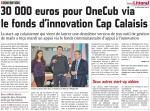 30 000 euros pour OneCub via le fonds d'innovation Cap Calaisis